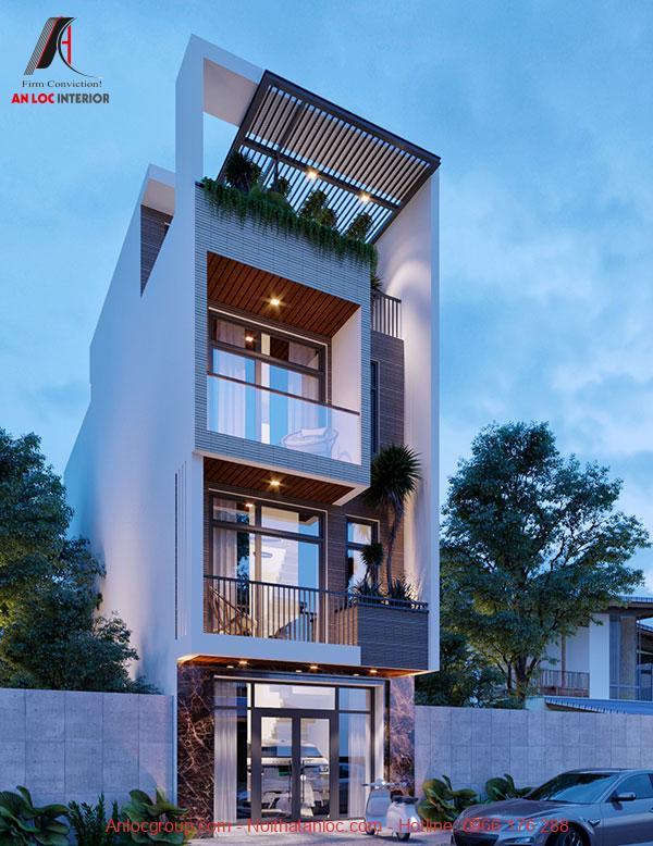 Thiết kế nhà 5x15 sử dụng đèn trần bắt mắt cùng với kiến trúc thông tầng độc đáo