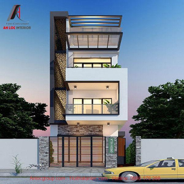 Mẫu nhà lệch tầng 5x15 được thiết kế thoáng đãng nhờ lan can kính. Đi kèm với đó là ánh sáng vàng ấn tượng tô điểm căn nhà