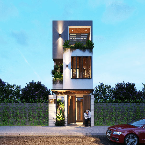 Kiểu dáng kiến trúc mẫu nhà 3 tầng mặt tiền 5m mới lạ đem lại dấu ấn riêng biệt cho căn nhà