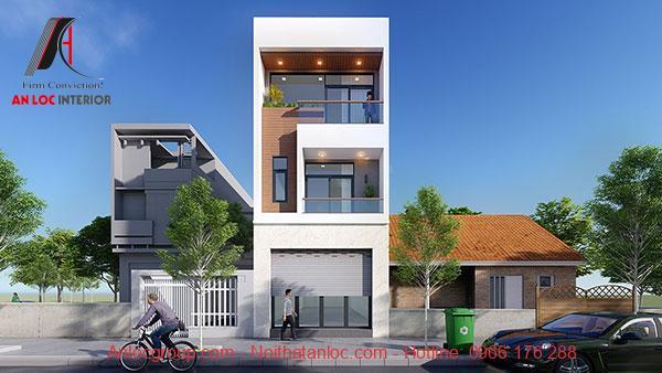 Thiết kế nhà 3 tầng 5x15m có gara để xe dưới tầng 1. Mô hình tích hợp công năng mang đến sự tiện lợi khi sử dụng