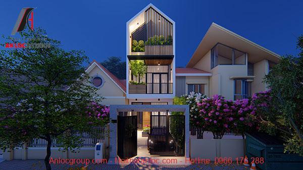 Mẫu nhà lệch tầng 5x15 sử dụng kiểu dáng thông tầng rộng rãi đi kèm với cây xanh tự nhiên