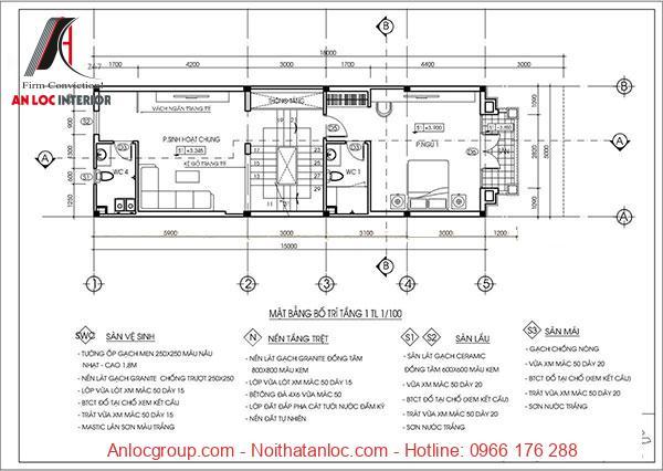 Tầng 1mẫu nhà ống đẹp 3 tầng 5m đủ rộng để phục vụ nhu cầu di chuyển, kinh doanh