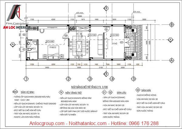 Bản vẽ nhà ống 5x15 với mặt bằng tầng 2 được phân chia phòng chức năng hiệu qủa
