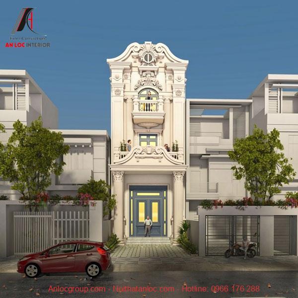 Thiết kế nhà 3 tầng tân cổ điển với hoa văn độc đáo. Kết hợp màu sắc và bố trí kiến trúc tạo nên tổng thể ấn tượng