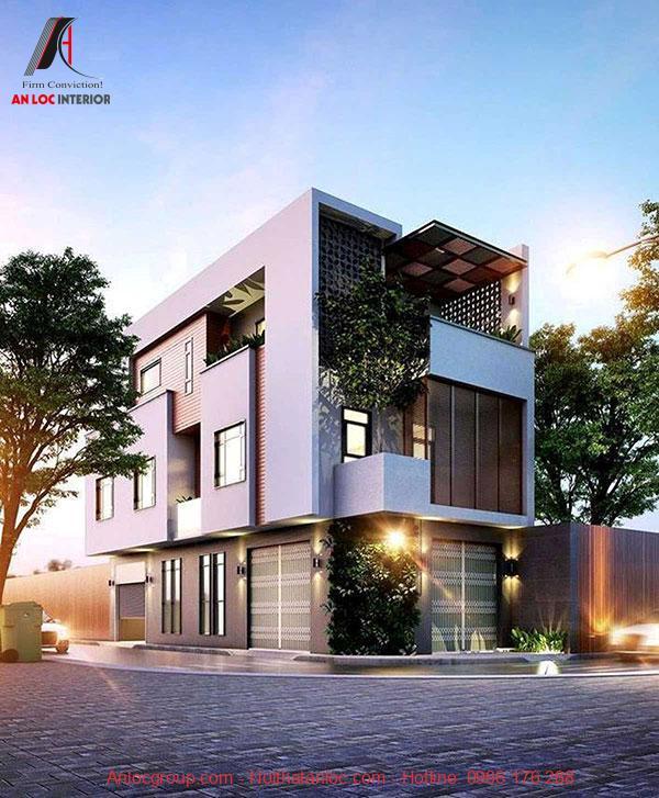 Thiết kế nhà 3 tầng 2 mặt tiền vừa để ở vừa để kinh doanh. màu sắc kết hợp nổi bật thu hút mọi ánh nhìn
