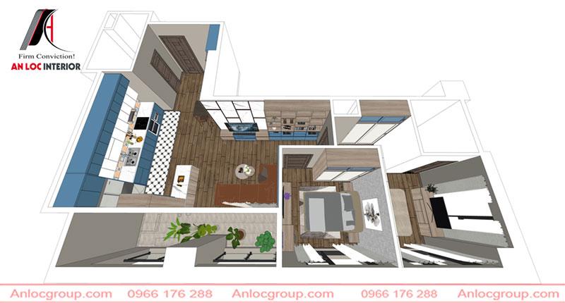 Thiết kế nội thất chung cư Hà Tây Millennium (hình ảnh chụp từ phần mềm thiết kế nội thất)