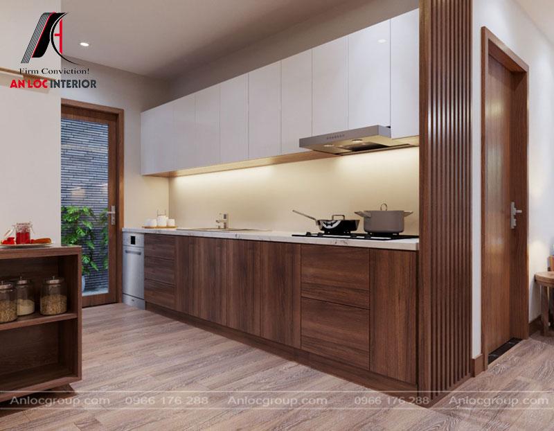 Khuôn viên bếp với vật dụng được bố trí nhịp nhàng, linh hoạt