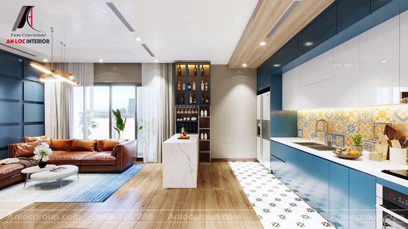 Thiết kế phòng khách liền bếp chung cư Thiên Niên Kỷ