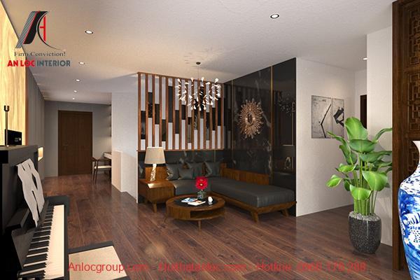 Phòng sinh hoạt chung được bố trí ở tầng 2 của căn hộ Duplex có bộ ghế sofa đen đặt sau các vách nan gỗ làm không gian phòng thêm thông thoáng