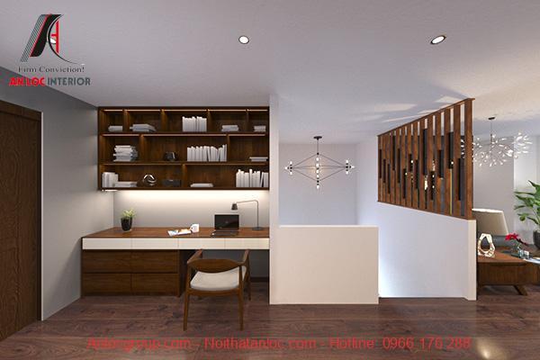 Không gian phòng làm việc trên tầng 2 bàn ghế cũng được sử dụng chất liệu gỗ