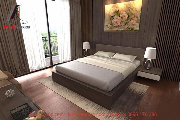 Phòng ngủ được sử dụng các gam màu trầm kết hợp nội thất gỗ mang lại cảm giác yên bình cho mọi người