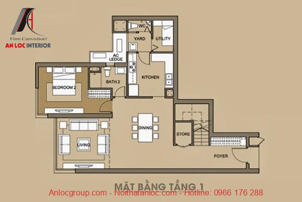 Bản vẽ mặt bằng tầng 1 của căn hộ Duplex