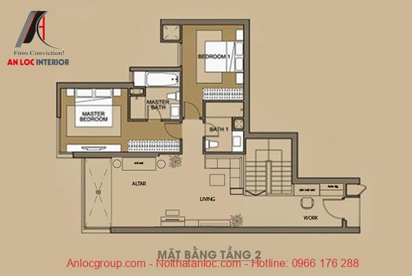 Bản vẽ mặt bằng tầng 2 của căn hộ Duplex