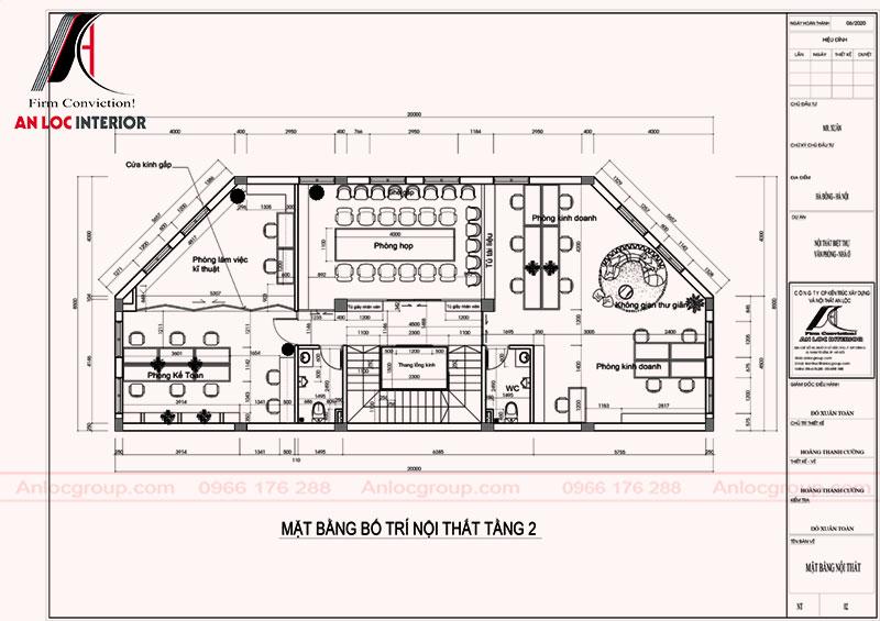 Mặt bằng bố trí nội thất tầng 2 biệt thự 3 mặt tiền