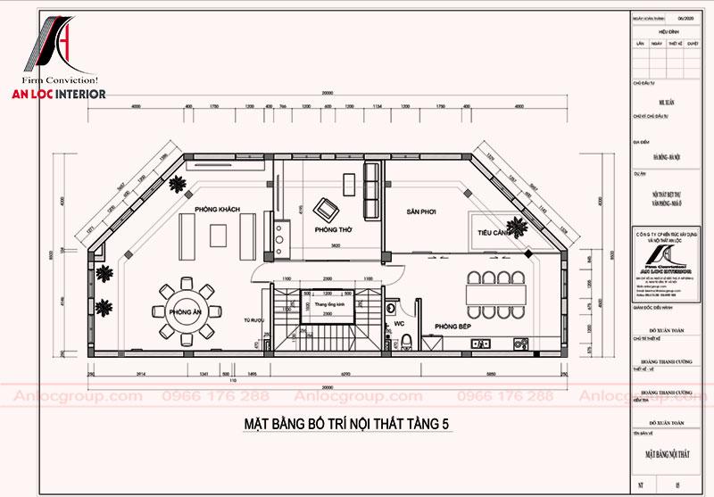 Mặt bằng bố trí nội thất tầng 5 nhà anh Xuân ở Hà Đông