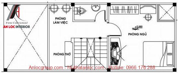 Mẫu nhà cấp 4 có gác lửng 4x10 có tầng lửng bố trí phòng ngủ, phòng làm việc