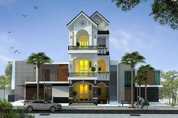 Nhà 3 tầng tân cổ điển với cách phối hợp sơn trắng đi kèm với ánh sáng vàng ấn tượng