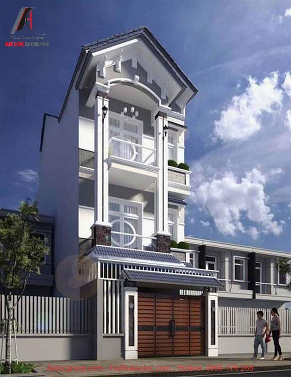 Mẫu nhà ống 3 tầng mái thái được thiết kế mặt tiền độc đáo để thu hút ánh nhìn, gia tăng thẩm mỹ căn nhà