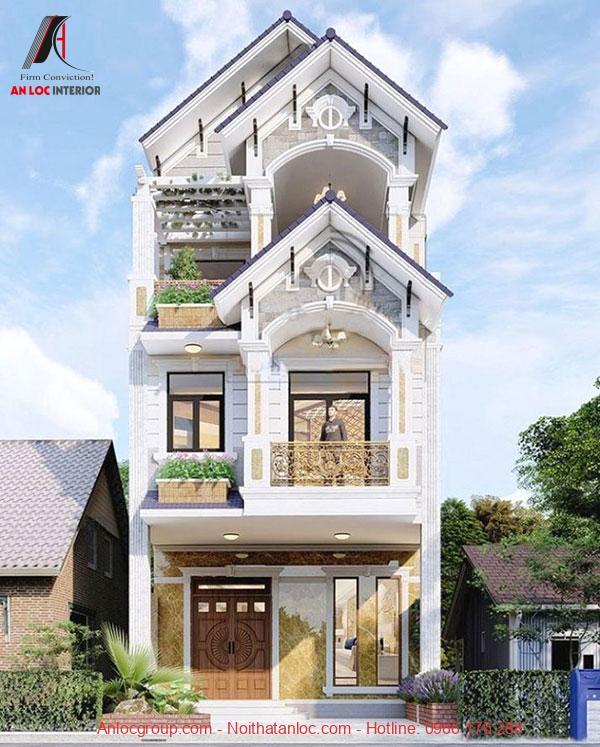 Thiết kế nhà 3 tầng 5x15m sử dụng ô cửa lớn mang đến không gian thoáng đãng, dễ chịu