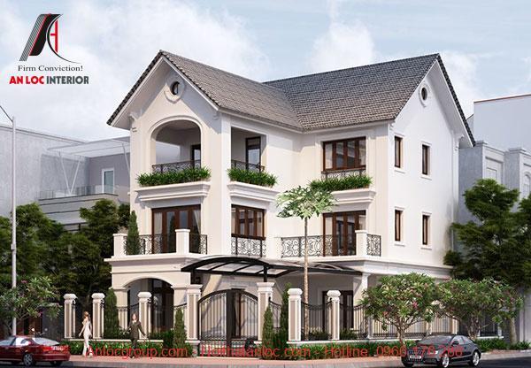 Mẫu nhà 3 tầng chữ L mái thái có sơn ngoại thất ấn tượng đi kèm kiến trúc độc đáo