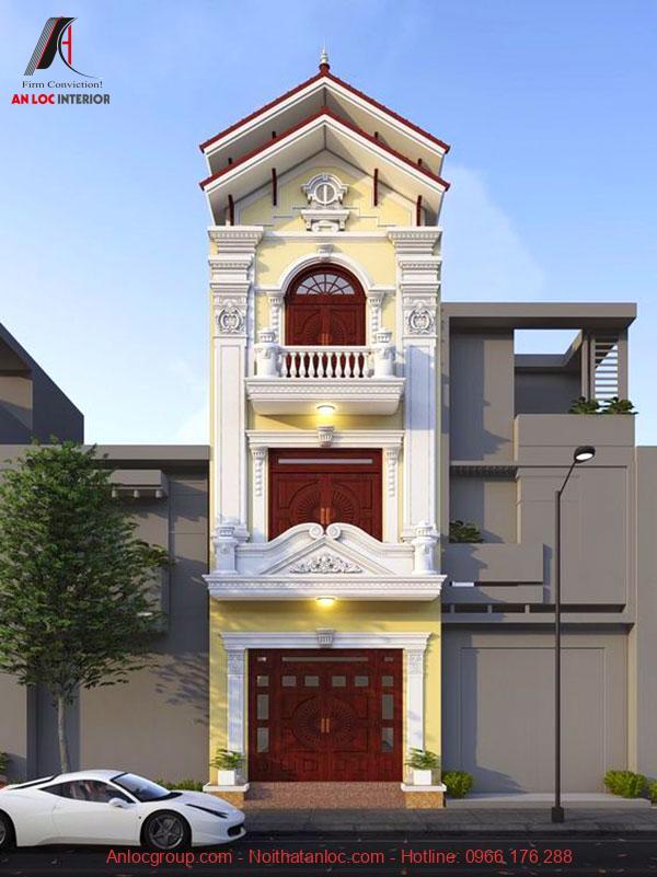 Thiết kế nhà 3 tầng cổ điển với đường phào chỉ ấn tượng đi kèm với hoa văn công phu