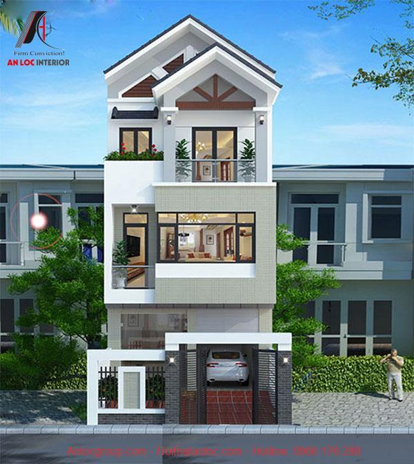 Mẫu nhà 3 tầng hiện đại với đường nét chắc chắn tạo nên yếu tố thẩm mỹ rõ ràng