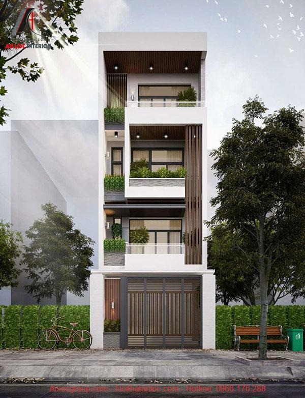 Thiết kế nhà phố mặt tiền 5m ưu tiến kiến trúc đơn giản, tích hợp công năng