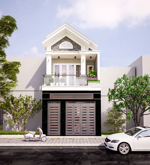 Mặt tiền nhà phố đẹp kết hợp mái thái tạo điểm nhấn độc đáo trong kiến trúc