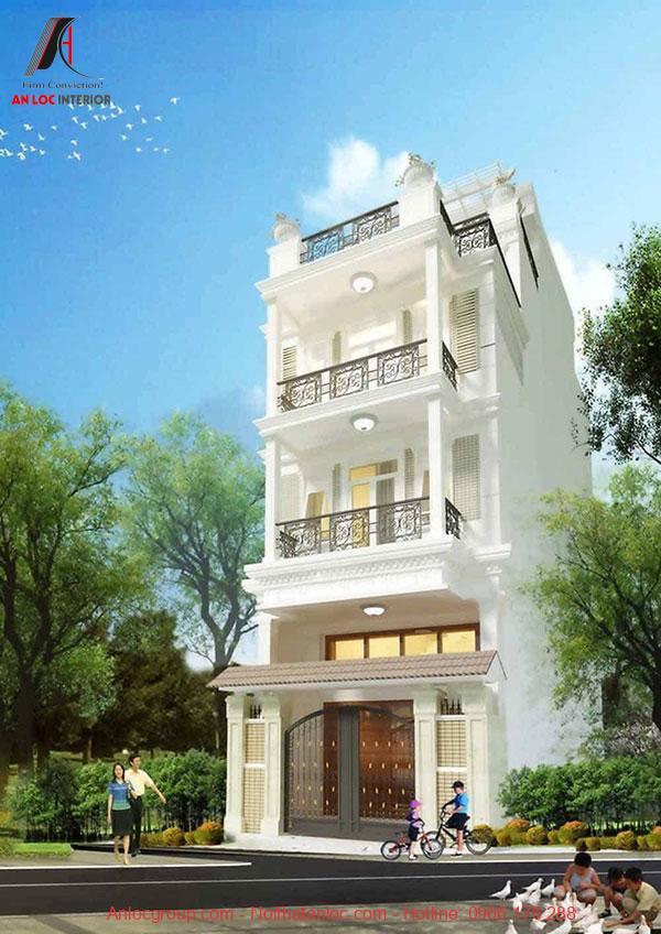 Mẫu nhà phố mặt tiền 5m đẹp, hiện đại tạo nên sức hấp dẫn đặc trưng