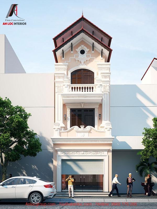 Phối cảnh mặt tiền nhà phố 5m 3 tầng kết hợp sắc hồng pastel và trắng tinh tế