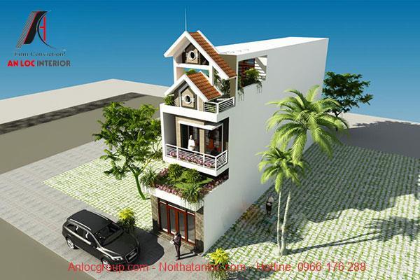 Nhà phố mặt tiền 5m dài 24m đơn giản, hiện đại