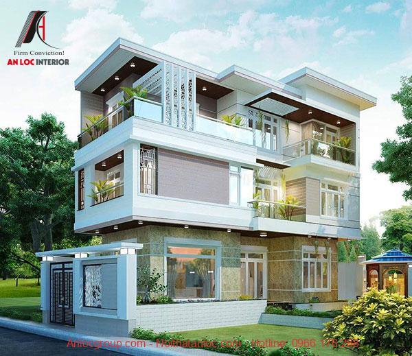 Mẫu nhà 3 tầng 2 mặt tiền sử dụng cách chồng tầng mới lạ, lôi cuốn