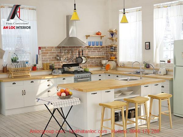 Vị trí đặt hợp lý hài hòa với không gian bếp