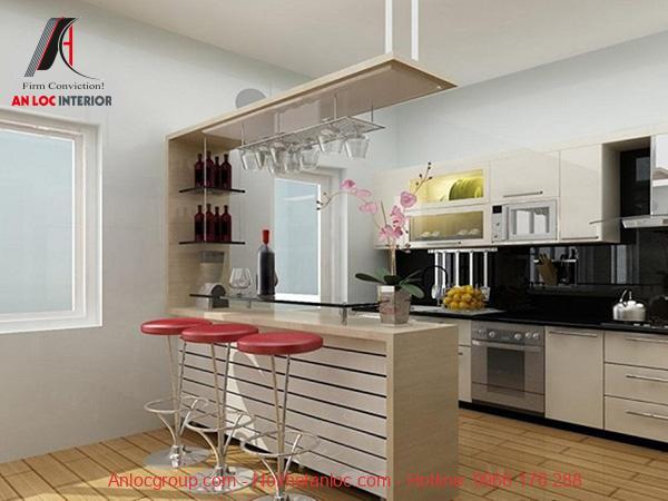 Kích thước quầy bar mini đặt trong bếp hài hòa với tổng thể chung