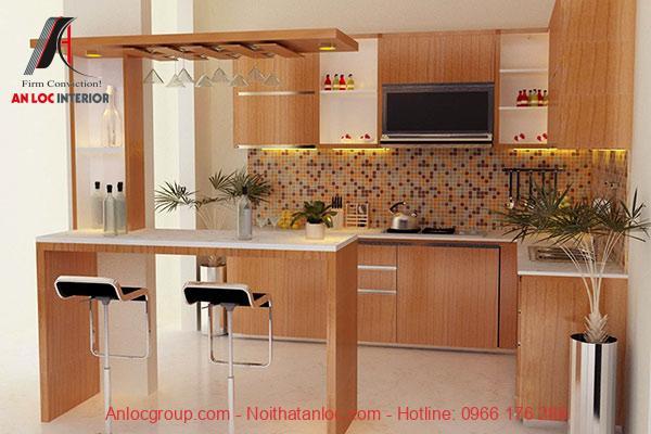 Quầy bar gỗ giúp không gian phòng trở nên sang trọng, hiện đại