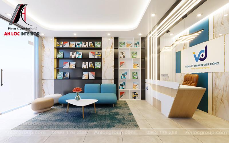 Tủ trưng bày sản phẩm hiện đại với các hình ảnh mà công ty đã thực hiện in ấn