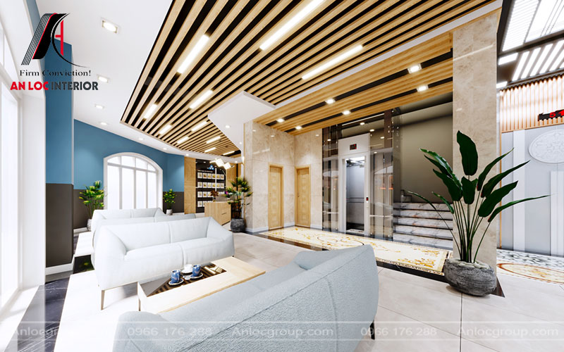 Khu vực đón tiếp khách sử dụng đồ nội thất đơn giản, màu sắc được lựa chọn hài hòa với tổng thể chung