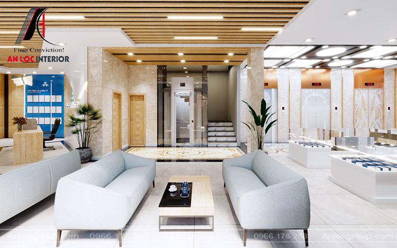 Hệ thống đèn trần kết hợp hài hòa với màu tường giúp ánh sáng được phản chiếu cụ thể