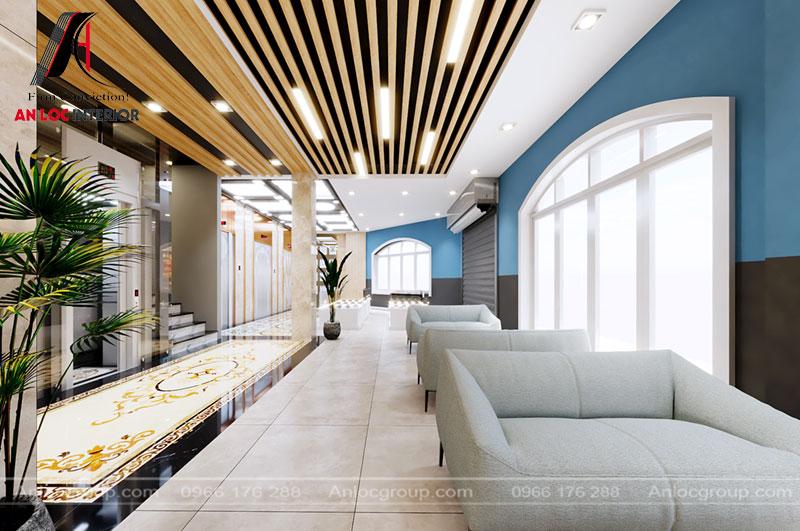 Hành lang rộng rãi kết hợp với cây xanh mang đến không gian trưng bày độc đáo từ cảnh vật đến màu sắc
