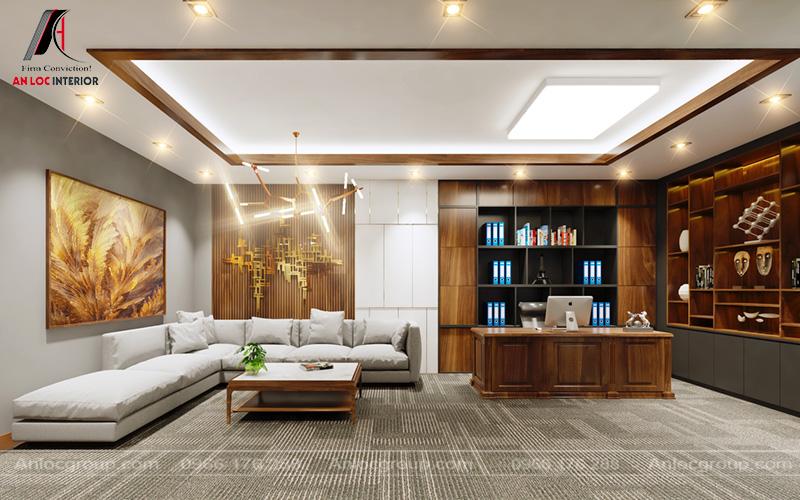Sofa và bàn làm việc đơn giản chủ yếu phục vụ nhu cầu sử dụng