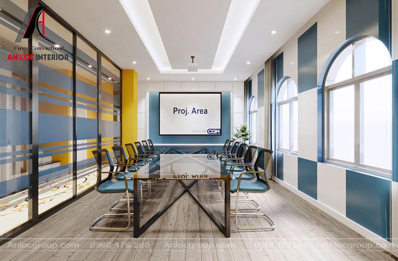 Phòng họp bố trí đơn giản nhưng đảm bảo nhu cầu sử dụng