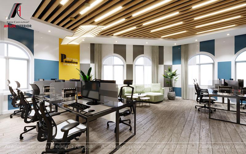 Màu sắc sàn sử dụng gam màu trung tính như một nốt trầm nhẹ nhàng cho tổng thể căn phòng