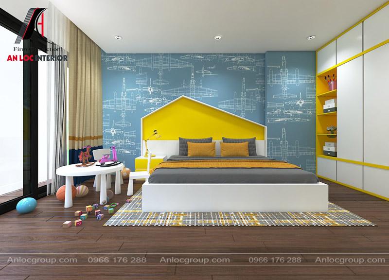 Thiết kế phòng ngủ con gái với điểm nhấn màu vàng
