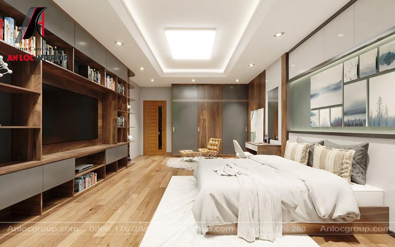 Phòng ngủ bố trí nội thất đơn giản nhằm gia tăng diện tích căn phòng