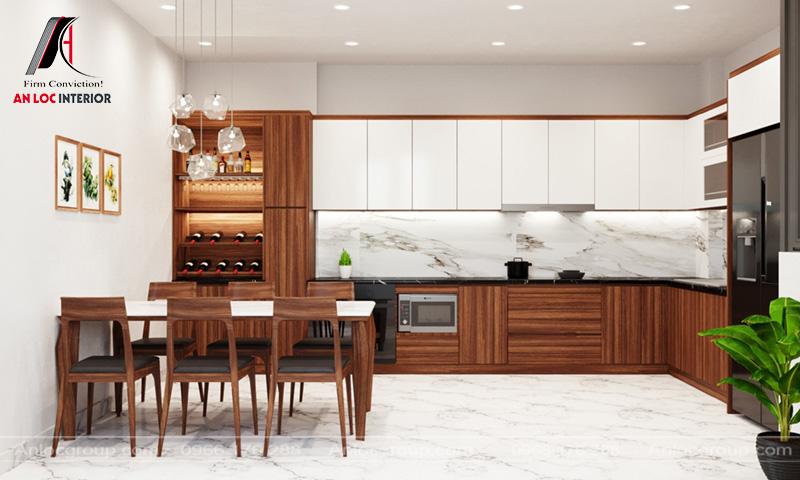 Dấu ấn của tủ trưng bày rượu trong không gian phòng bếp