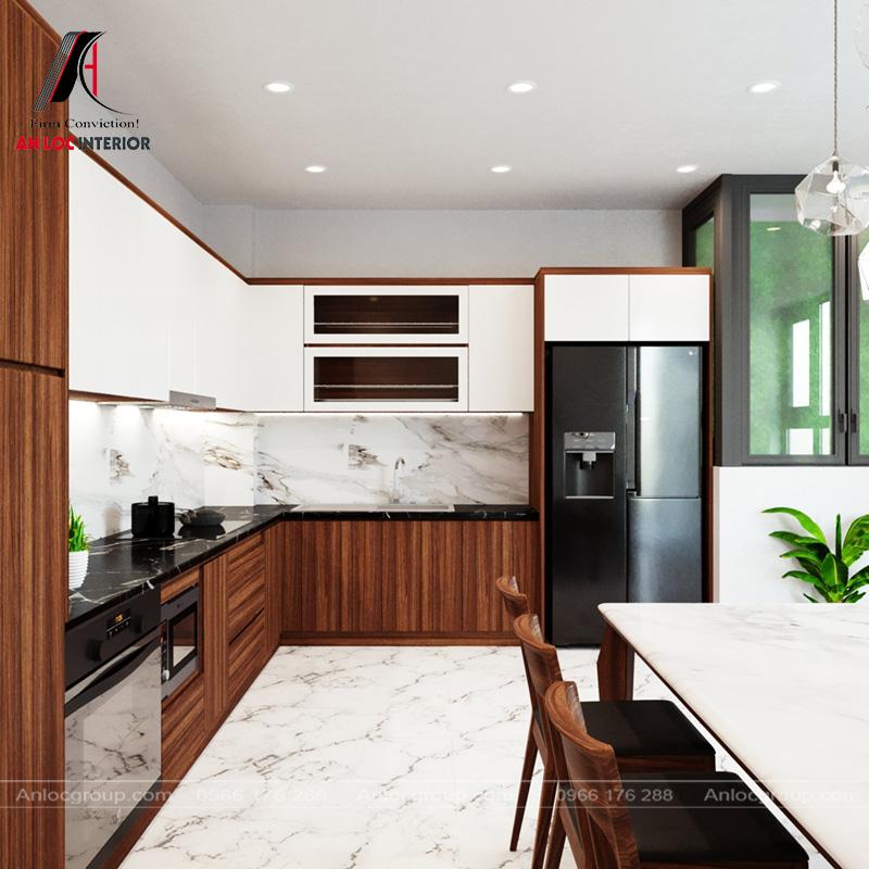 Nội thất phòng bếp sử dụng tủ chữ L độc đáo