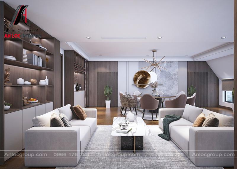 Sofa đơn giản nhưng đồng nhất với tổng thể căn phòng