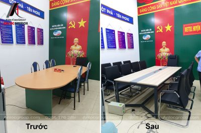 Thi công bàn ghế phòng họp viettel Đắk Lắk