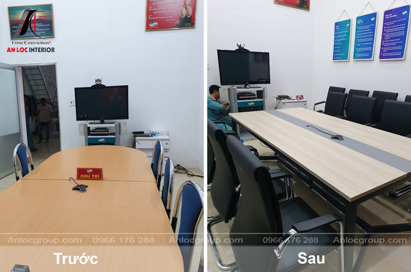 Khu vực phòng họp với bàn ghế ấn tượng đi kèm hiệu quả thẩm mỹ