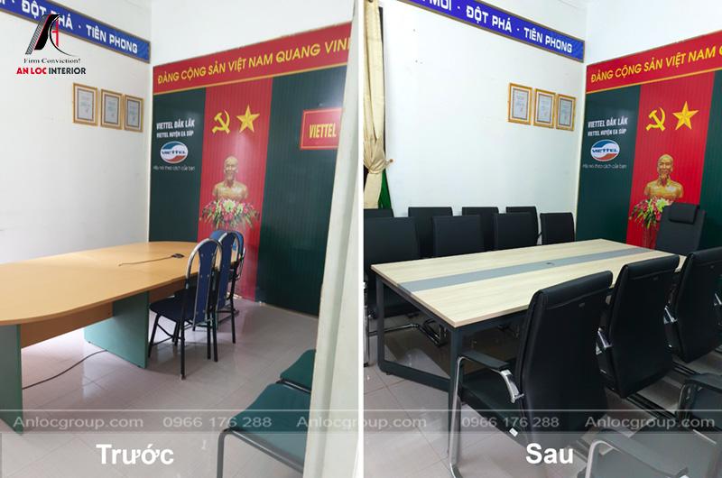 Thi công bàn ghế văn phòng Viettel Đắk Lắk